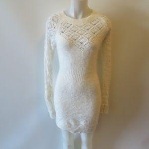MODA INTERNATIONAL WHITE ANGORA SWEATER DRESS M
